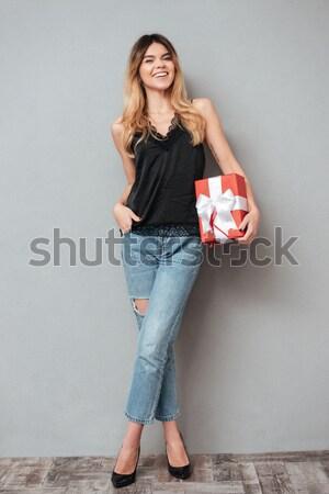 портрет улыбающаяся женщина стены девушки улыбка Сток-фото © deandrobot