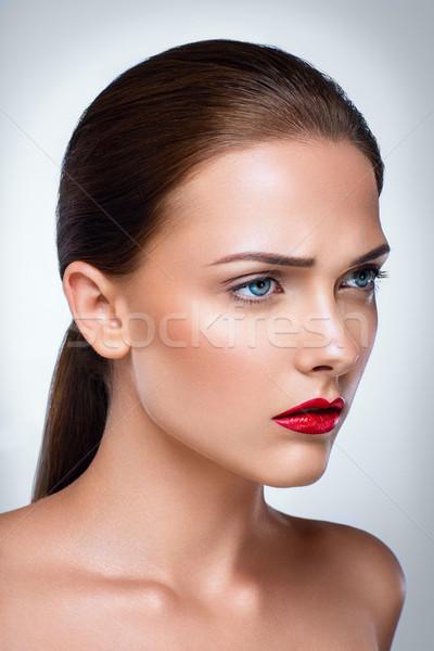 портрет красивая женщина уход за кожей лице красоту губ Сток-фото © deandrobot