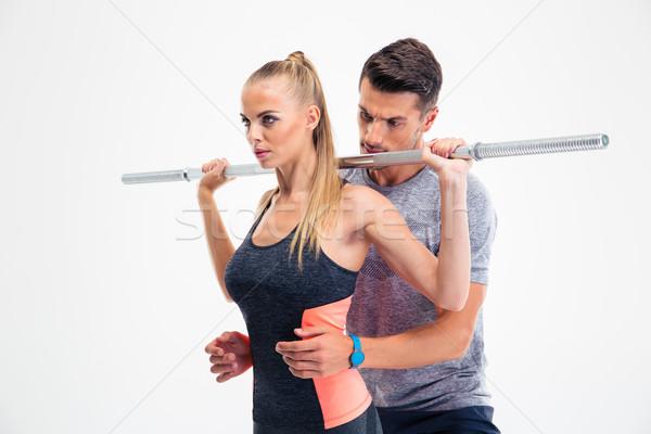Portret kobieta fitness sztanga trener odizolowany Zdjęcia stock © deandrobot