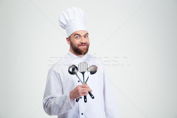 Zdjęcia stock: Mężczyzna · kucharz · gotować · łyżka · portret