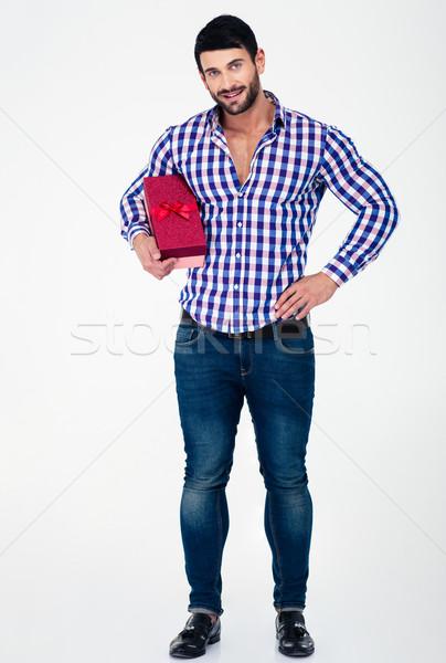 Teljes alakos portré boldog férfi tart ajándék doboz Stock fotó © deandrobot
