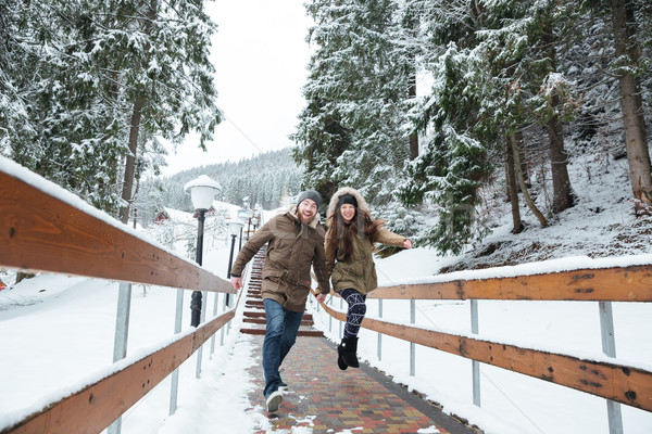 Couple jumping and running together in winter Stock photo © deandrobot