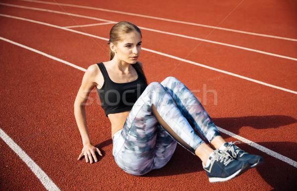スポーツ 女性 ストレッチング 行使 美しい 屋外 ストックフォト © deandrobot