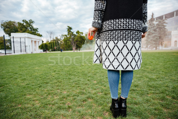 Back view of woman standing and holding ball for dog Stock photo © deandrobot