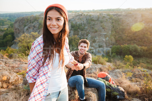 Young traveler couple in the mountains Stock photo © deandrobot