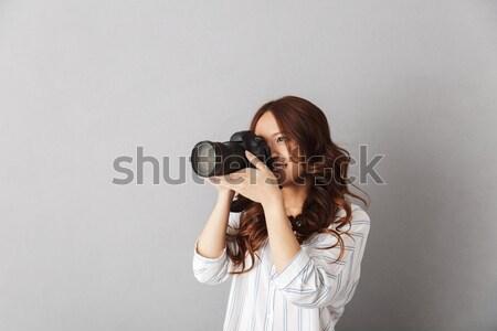 Juguetón mujer virtual realidad dispositivo Foto stock © deandrobot