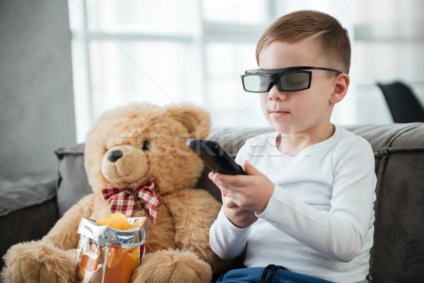 Chłopca okulary 3d oglądania telewizja Zdjęcia stock © deandrobot
