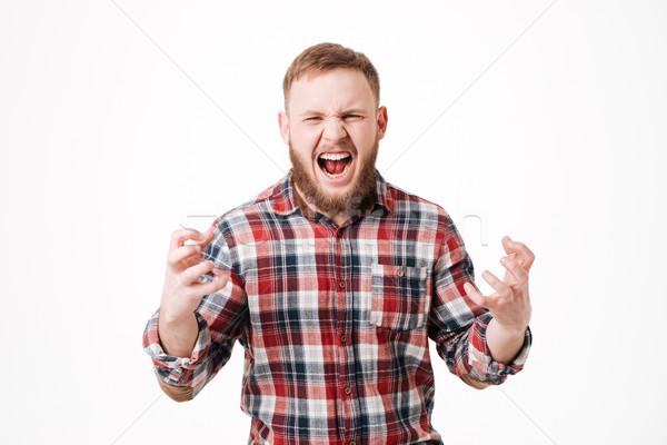 Sakallı adam gömlek çığlık atan stüdyo Stok fotoğraf © deandrobot