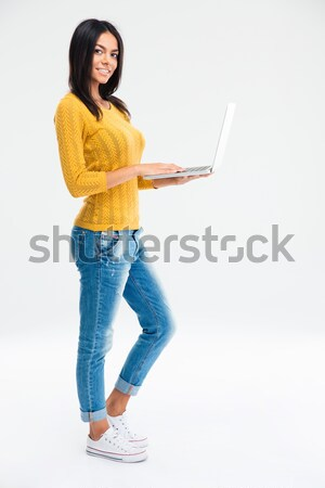 Portrait of a happy joyful girl showing her weight loss Stock photo © deandrobot