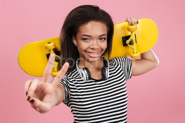 портрет улыбаясь афро американский подростку девушки Сток-фото © deandrobot