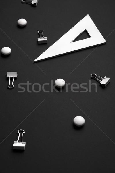 Irodaszerek fekete asztal kép üzlet iroda Stock fotó © deandrobot