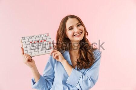 ストックフォト: 肖像 · 幸せな女の子 · 夏 · 帽子 · ポインティング · 指