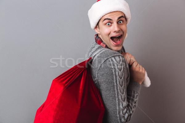 Stok fotoğraf: Yandan · görünüş · şaşırmış · adam · kazak · Noel · şapka