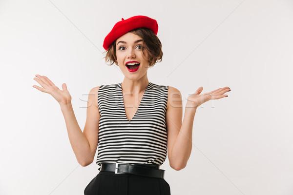 Retrato alegre mulher vermelho boina gritando Foto stock © deandrobot