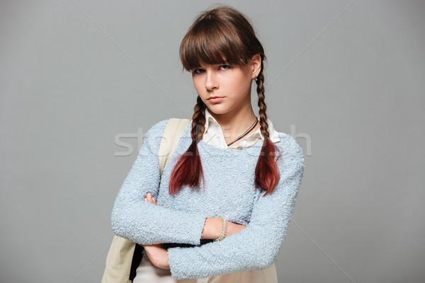 肖像 動揺 悲しい 女学生 立って 腕 ストックフォト © deandrobot