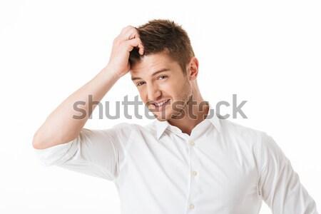 Portret verward jonge man hoofd geïsoleerd witte Stockfoto © deandrobot