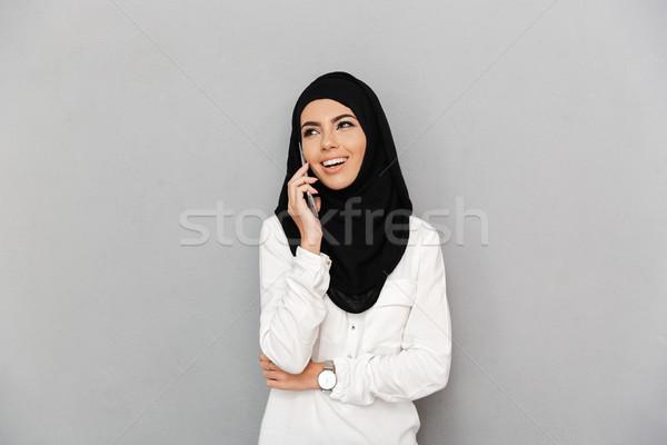 Portré derűs arab nő vallásos fejkendő Stock fotó © deandrobot