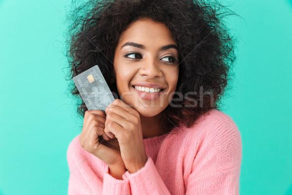 Retrato conteúdo mulher desgrenhado cabelo Foto stock © deandrobot
