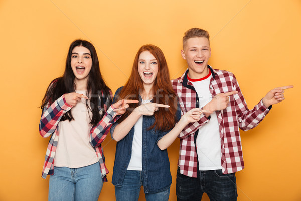Group of cheerful school friends pointing fingers away Stock photo © deandrobot