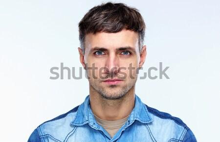 Сток-фото: портрет · случайный · серьезный · человека · серый · глазах