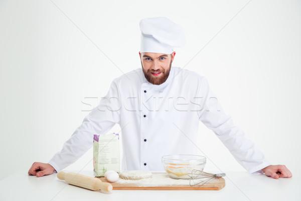 Portret mannelijke bakker permanente geïsoleerd witte Stockfoto © deandrobot