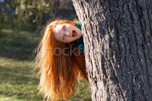 Amusing funny girl  looking out from the tree in park Stock photo © deandrobot