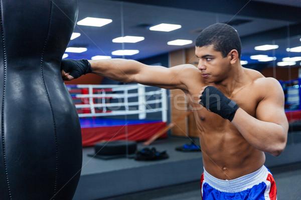 Boksör eğitim spor salonu erkek uygunluk portre Stok fotoğraf © deandrobot