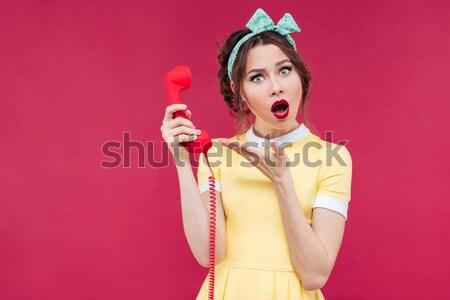 Grappig jonge vrouw snoep riet Stockfoto © deandrobot