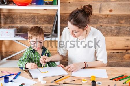Moeder weinig zoon schilderij zon samen Stockfoto © deandrobot