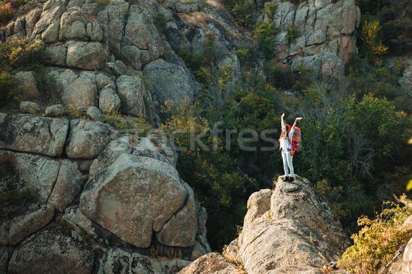 Avontuur vrouw canyon handen omhoog handen sport Stockfoto © deandrobot