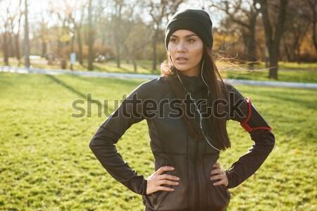 Foto stock: Mulher · jovem · corredor · corrida · outono · parque · imagem