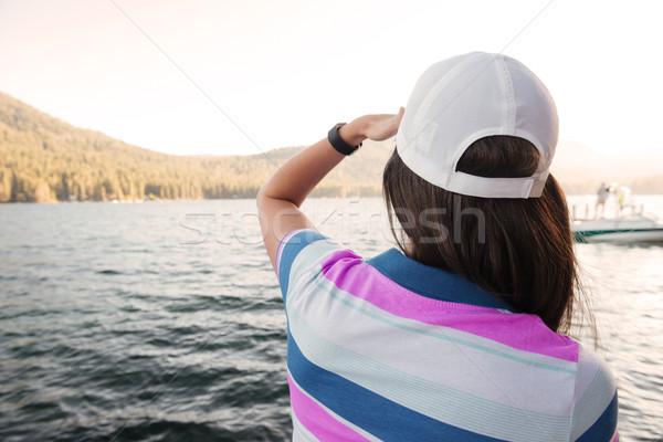 Foto d'archivio: Guardando · tramonto · lago · vista · posteriore · ritratto