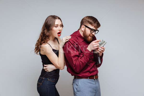 Femme Retour Homme nerd couple Photo stock © deandrobot