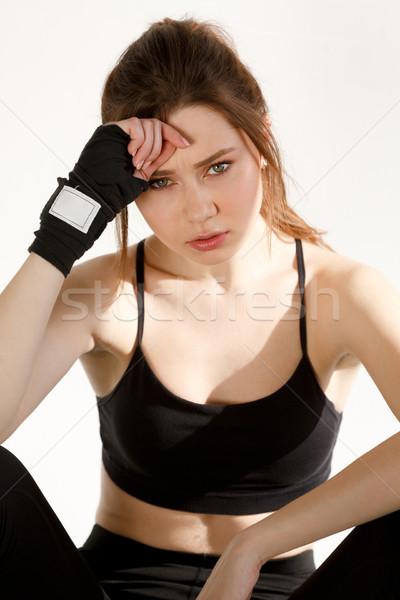 Incredibile giovani grave sport donna boxer Foto d'archivio © deandrobot