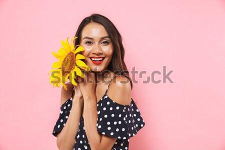 портрет счастливая девушка купальник стекла бутылку Сток-фото © deandrobot
