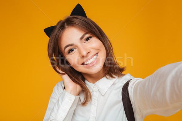 Foto stock: Retrato · sonriendo · colegiala · uniforme