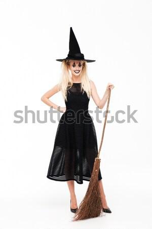 Teljes alakos kép elégedett őrült nő halloween Stock fotó © deandrobot