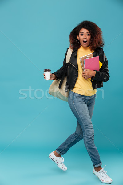 Full length image of surprised african woman in leather jacket Stock photo © deandrobot