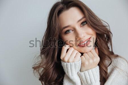 Close-up portrait of beautiful tender brunette woman looking asi Stock photo © deandrobot