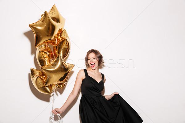 Portret dość dziewczyna czarna sukienka powietrza Zdjęcia stock © deandrobot