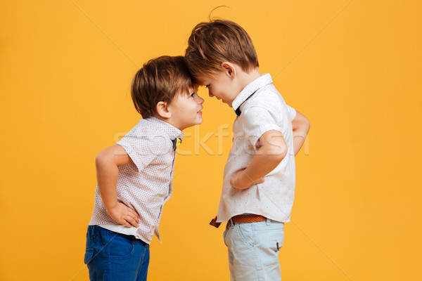 Stock photo: Funny little children brothers isolated over yellow