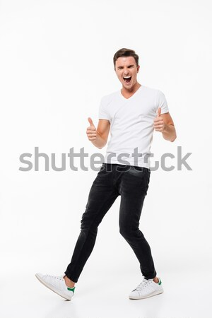 Foto stock: Retrato · alegre · animado · homem · branco