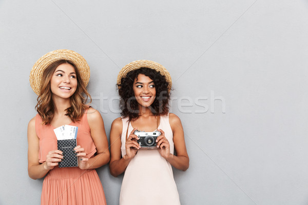 Portrait of two smiling young women Stock photo © deandrobot