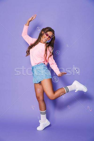 Teljes alakos portré csinos fiatal nő kettő pulóver Stock fotó © deandrobot