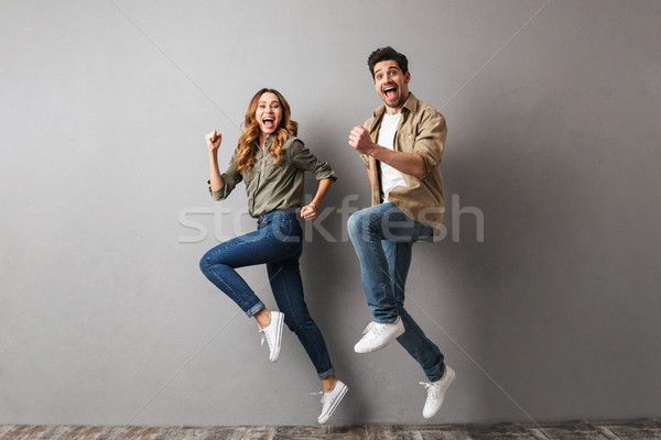 Portret vrolijk springen samen Stockfoto © deandrobot