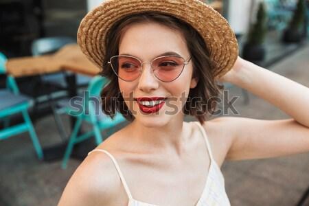 изображение женщину платье соломенной шляпе красоту Сток-фото © deandrobot