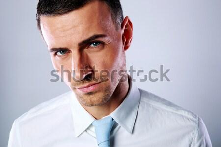 Portret gelukkig volwassen man business glimlach Stockfoto © deandrobot