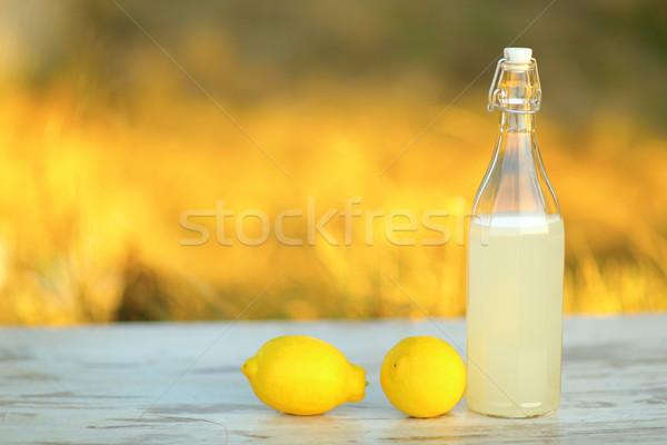 Limonade Tabelle trinken Flasche stehen Freien Stock foto © deandrobot
