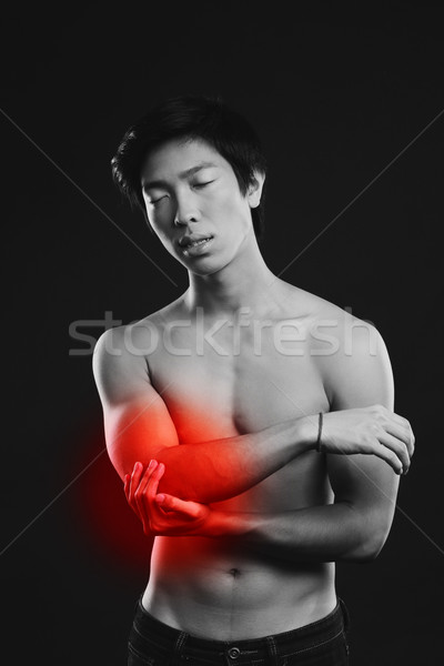 Portrait of a young asian man standing with closed eyes on black background Stock photo © deandrobot