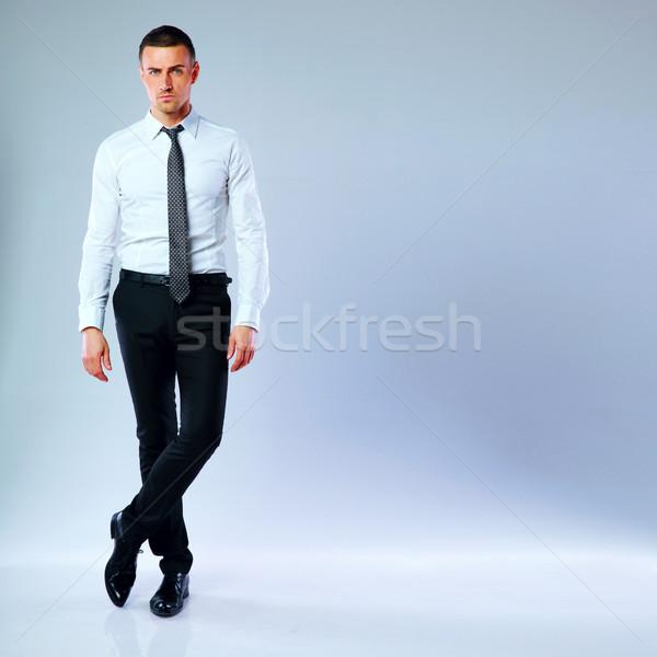 портрет бизнесмен серый бизнеса фон исполнительного Сток-фото © deandrobot